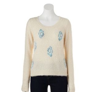 LC LAUREN CONRAD Sweater Winter White Fuzzy Floral